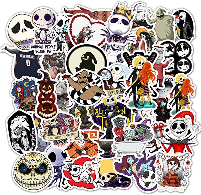 Halloween Theme Stickers Laptop Stickers The Nightmare Before Christmas and Tim Burton's Sticker Waterproof Bike Skateboard Luggage Decal Graffiti Patches Decal 50 PCS (The Nightmare Before Christmas