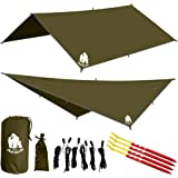 CHILL GORILLA 10' HAMMOCK RAIN FLY TENT TARP Waterproof Camping Shelter. Lightweight RIPSTOP NYLON & Not Cheap Polyester. Stakes Included. Survival Gear. Backpacking Camping ENO Accessory.