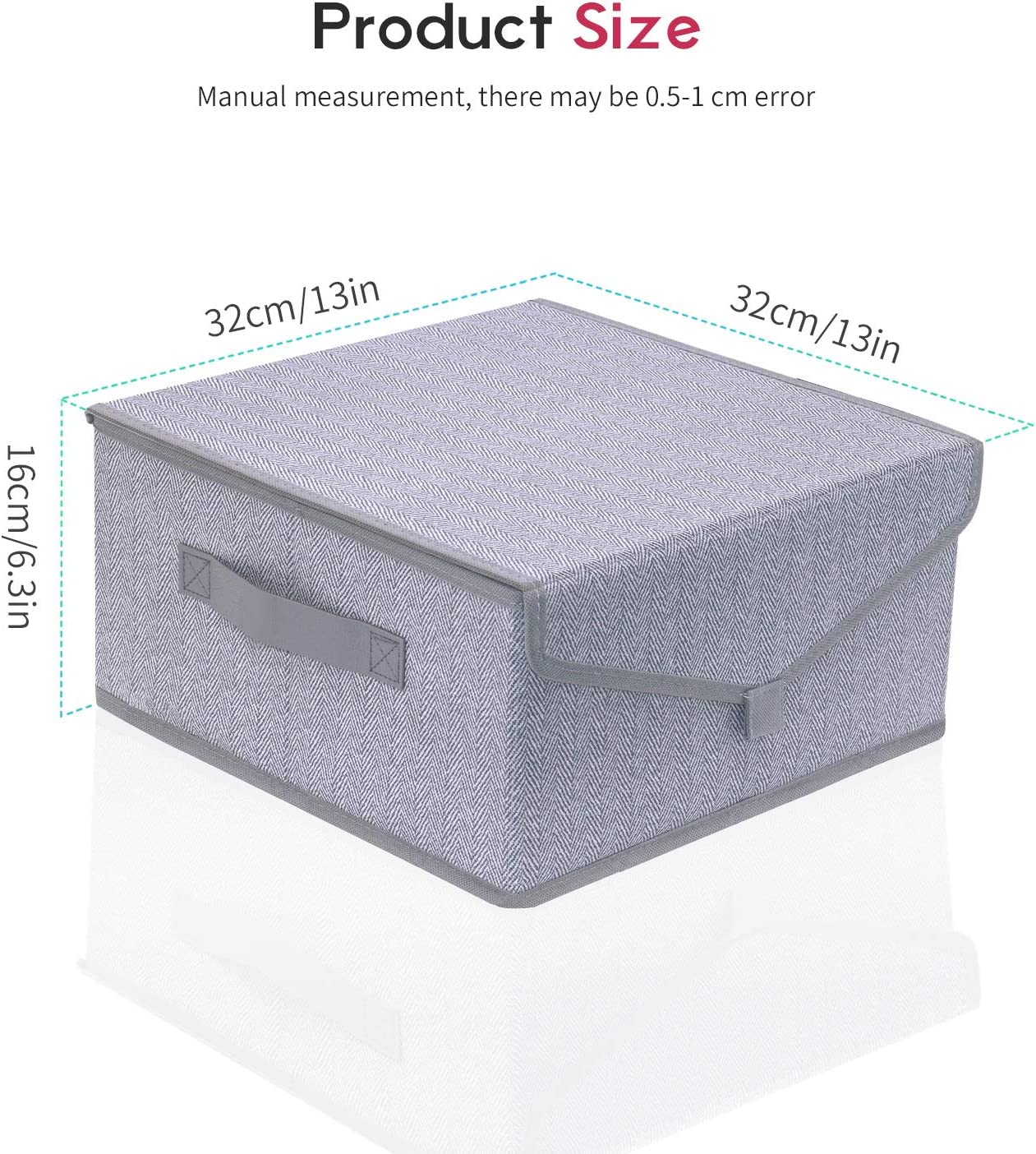 Nursery 2-Pack Herringbone Grey for Home Onlyeasy Foldable Storage Bins Boxes with Lids Closet 32x32x16 cm Decorative Fabric Collapsible Storage Cubes Organizer Basket with Handles MXRLB16P2
