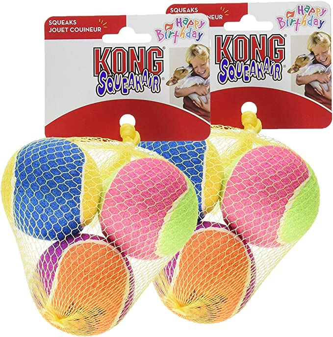 KONG Air Dog Squeakair Birthday Balls Dog Toy, Medium, Colors Vary (6 Balls)