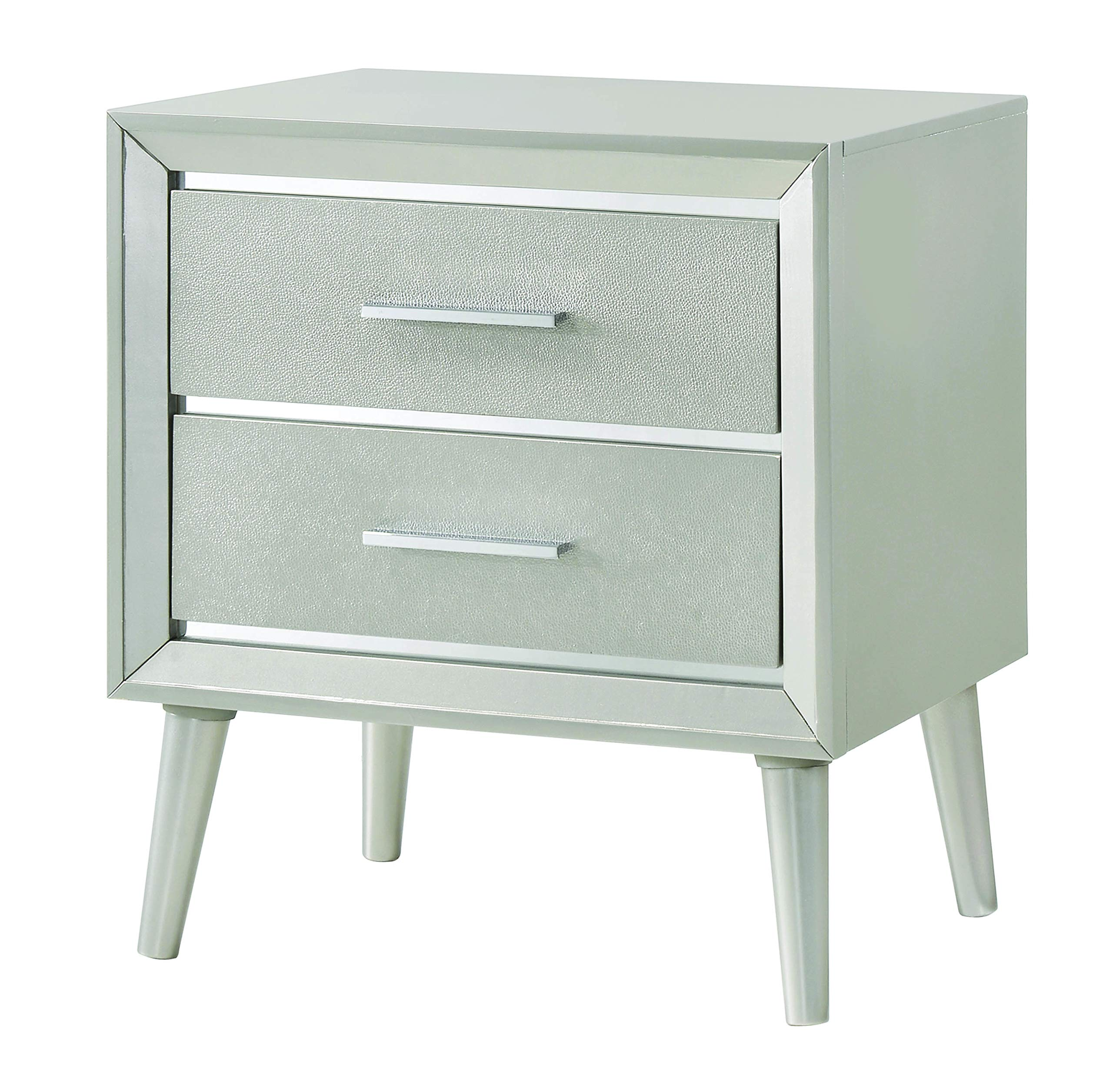Coaster Ramon Mid-Century Modern Metallic Sterling Nightstand 222702 by Coaster Home Furnishings