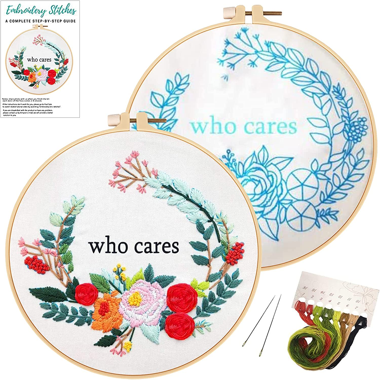 Handcraft Cross Stitch Kit Embroidery Starter Sew Needle Square Hoop Frame LI