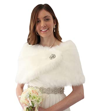 6674d093650 Image Unavailable. Image not available for. Color  Bridal fur shawl wrap