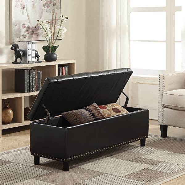 "Belleze 48"" Rectangular Faux Leather Storage Ottoman Bench Footrest, Large, Brown"