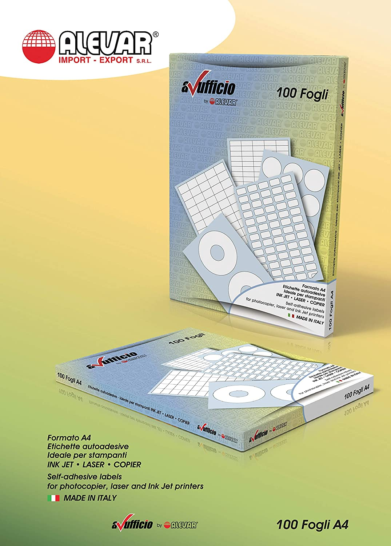 190 x 61 mm 400 Etichette Adesive con margini 4 etichette bianche per foglio 100 fogli A4