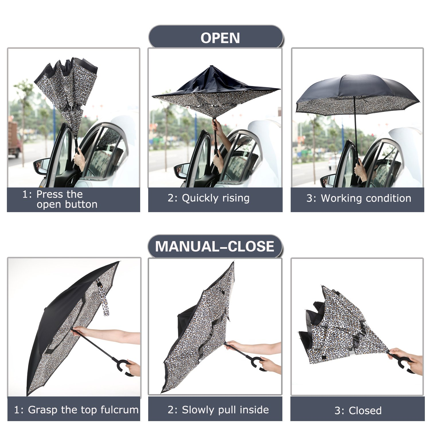 Barasol Reverse Folding Umbrella Travel Windproof Compact Umbrella Waterproof Double Canopy Vented Layer Inverted Close Golf Umbrella Lightweight for Man Women, Manually Open Leopard by Barasol (Image #8)