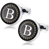 Udalyn Men's Fashion Stainless Steel Cufflinks Personalized 26 Alphabet Initial Letter Cufflinks Business Wedding Shirt Hangi