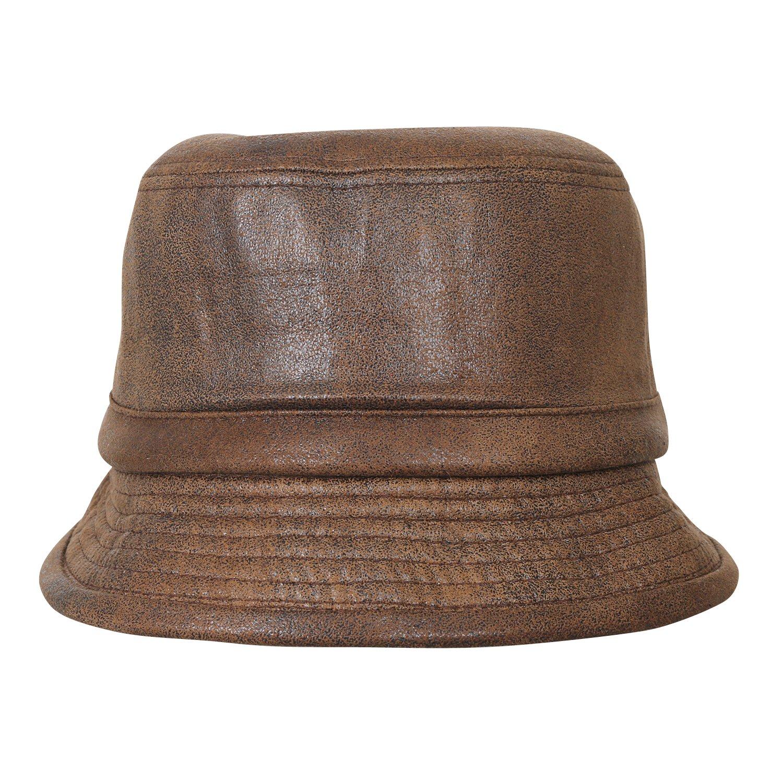 5e1660dbcb6c2 ililily Vintage Faux Leather Rolled Short Brim Fedora Flat Pork Pie Hat at  Amazon Men s Clothing store