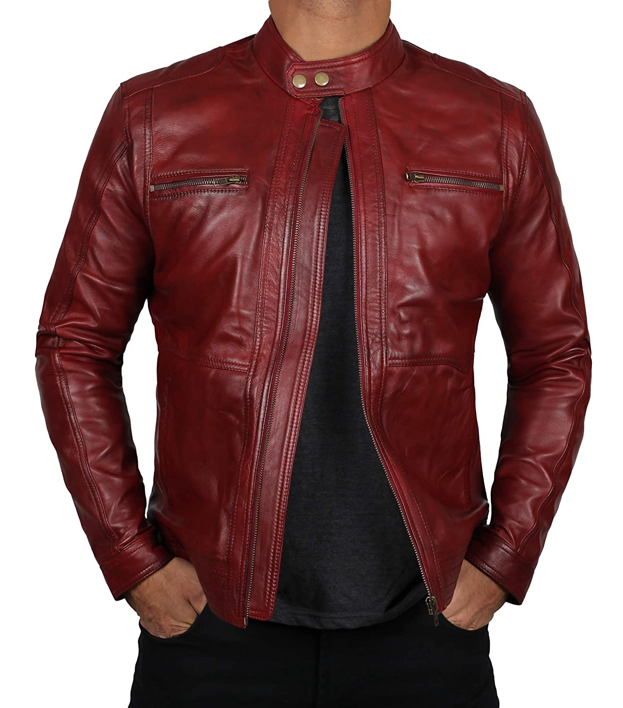 d8367a459 Blingsoul Red Leather Jacket Mens - Distressed Biker Jacket Costumes