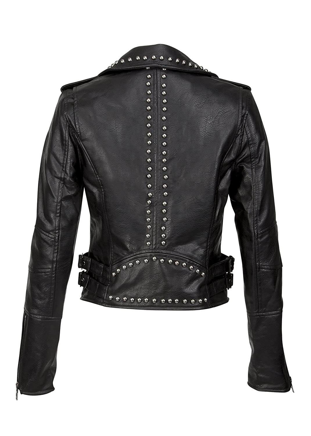 Glam and Gloria Womens Studded Black Faux Leather Biker Moto Jacket - Size  Small at Amazon Women s Coats Shop 960b1b412e