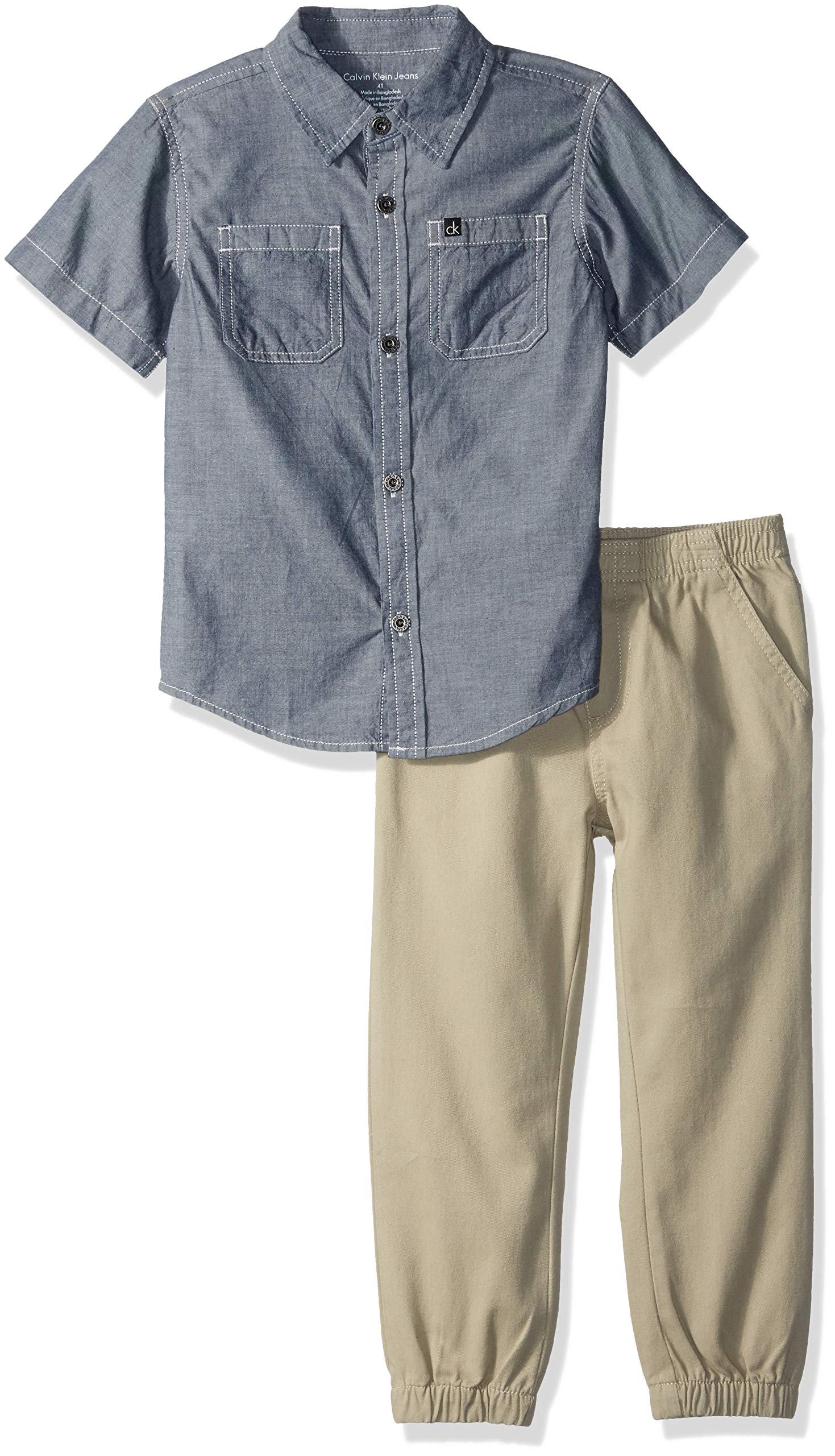 Calvin Klein Boys' Toddler 2 Pieces Shirt Pant Set-Short Sleeves, Blue Denim, 2T