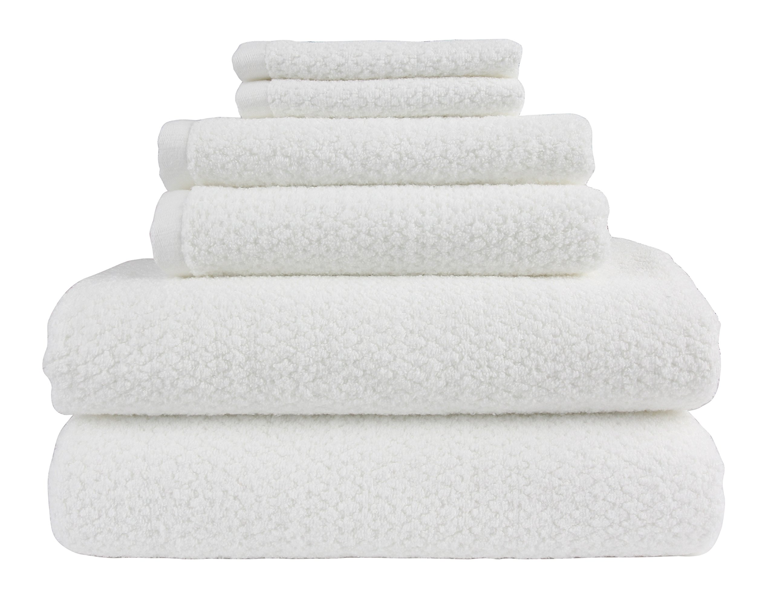 Everplush Diamond Jacquard Bath Towel 6 Piece Value Pack in White