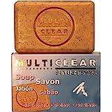 Jabón exfoliante aclarador. MULTICLEAR - 100g. Antimanchas y Antiacne. Con semilla de Melocotón. Combate puntos negros y…