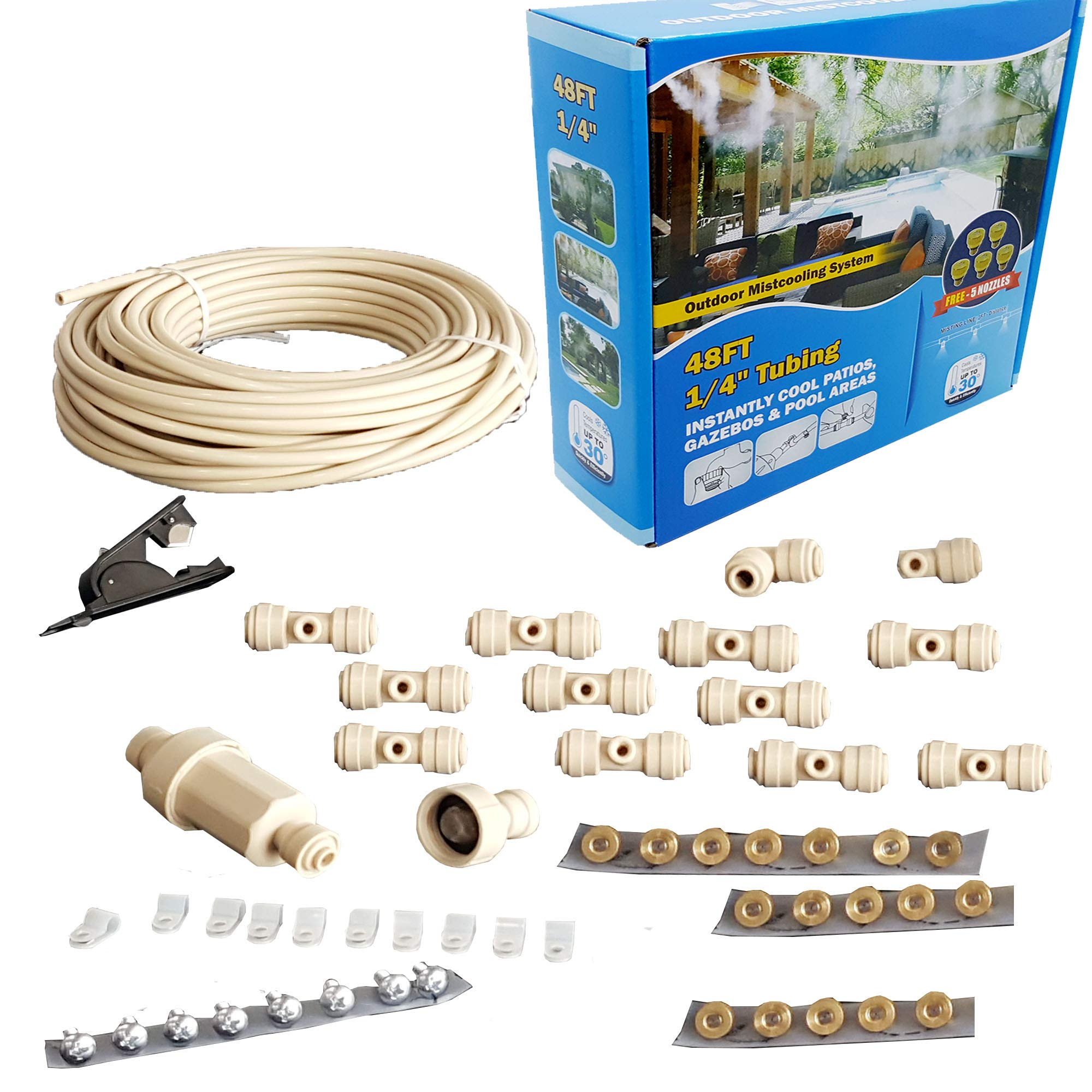 mistcooling - Patio Misting Kit Assembly - Make Your own Misting System - Easy to Build and Install - 5 Minute Installation (48Ft -12 Nozzles) by mistcooling