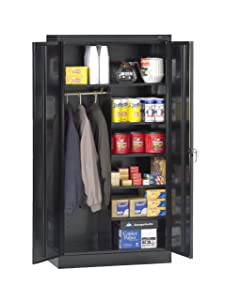 "Tennsco 7214 24 Gauge Steel Standard Welded Combination Storage Cabinet, 5 Shelves, 150 lbs Capacity per Shelf (50 lbs per half shelf), 36"" Width x 72"" Height x 18"" Depth, Black"