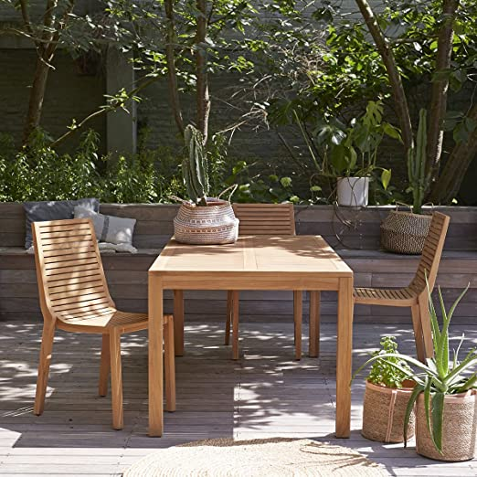 Tikamoon Mesa Exteriores jardín terraza Madera Maciza Teca 180 cm teo Muebles: Amazon.es: Hogar