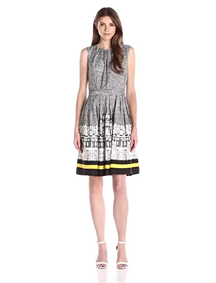 Ellen Tracy Womens Sleeveless City Scape Print Fit And Flare Dress