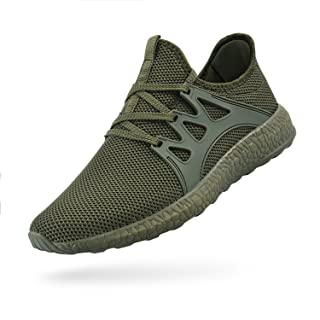 QANSI Men's Casual Shoes Fashion Sneakers Fly Knittted Flexible Athletic Sports Running Gym Shoes Green Size 10.5