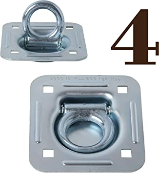 6,000 lb. Capacity Recessed Tie Down Anchor with Heavy Backer Plates and Carriage Bolts Included WorldPac Gripon Pack of 6