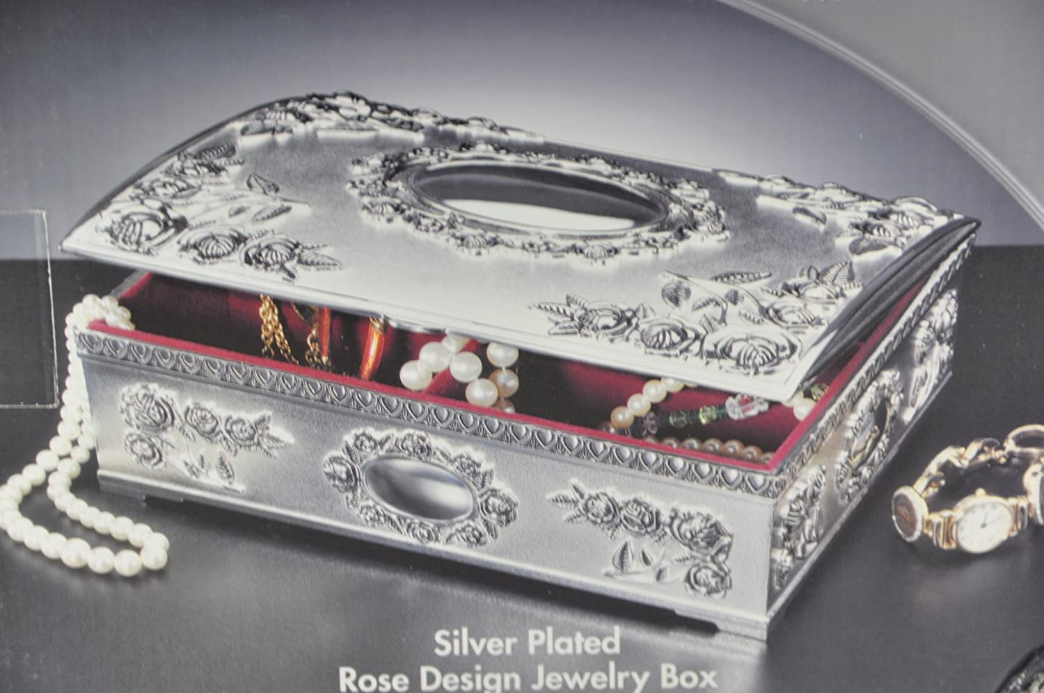 Amazoncom GODINGER Silver Plated Rose Design Jewelry Box Home