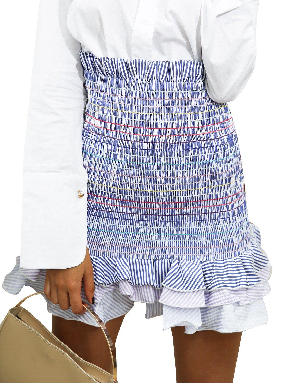 Simplee Women's Boho High Waist Bodycon Stripe Pleated Casual Mini Pencil Skirt,Stripe,One Size