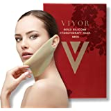 Vivor Beauty Gold Silicone Reuseable Hydrotherapy Uplift Mask for Neck and Chin.Facial Mask. Uplifting, V-shape, Anti-aging, Reduce Wrinkle, Dark Spots, and Fine Lines. Reuse up to 100 Times!