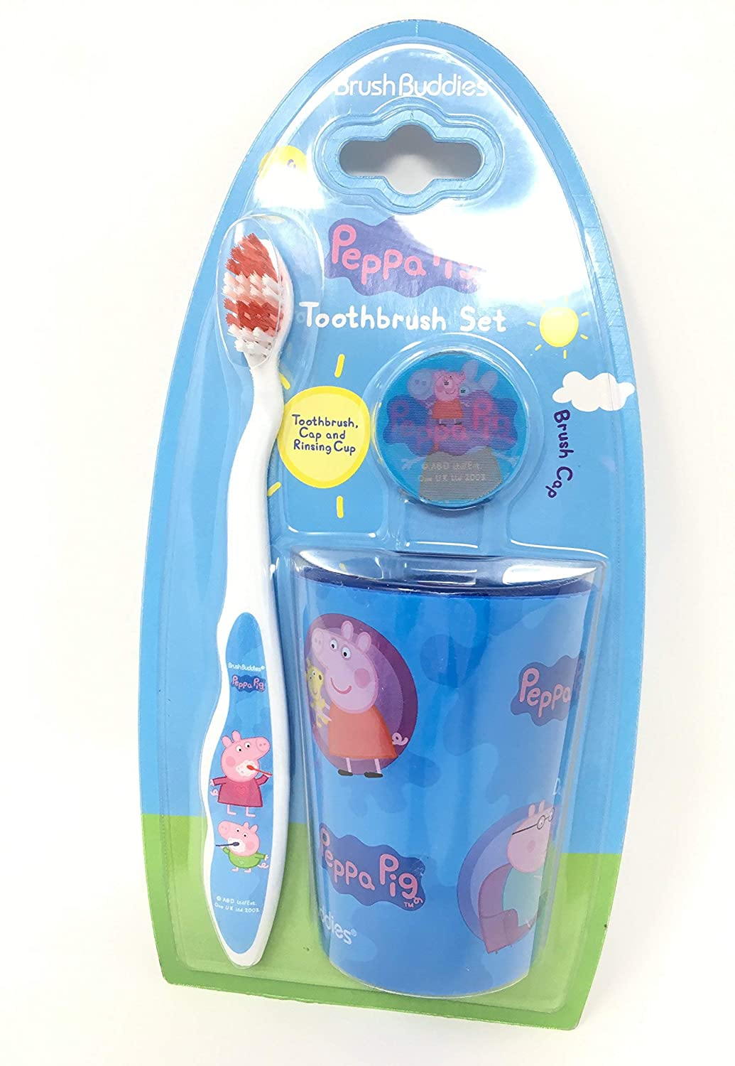 Party Favor 3pcs Peppa Pig Toothbrush Cap Rinsing Cup Set Blue