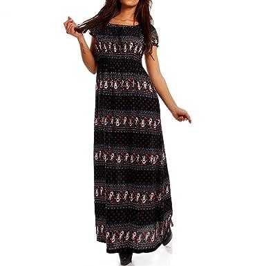 a253326e84d1 Young-Fashion Maxi-Kleid Carmen Kurzarm und mit Ausschnitt - Als stylisches  Strand-Kleid oder Party-Kleid - Langes Kleid für Frühling, Sommer und ...
