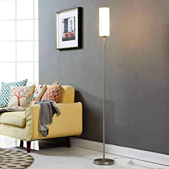 Moderne Stehlampe E27 Glas Schlafzimmer weiss Wohnzimmer