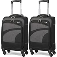 Aerolite Ultra Léger Carry On Main Cabine Bagages Spinner Valise Voyage Chariot Avec 4 Roues, Noir / Gris