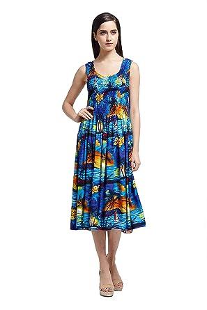 Hawaii Hangover Womens Hawaiian Tank Elastic Luau Dress Sunset Blue
