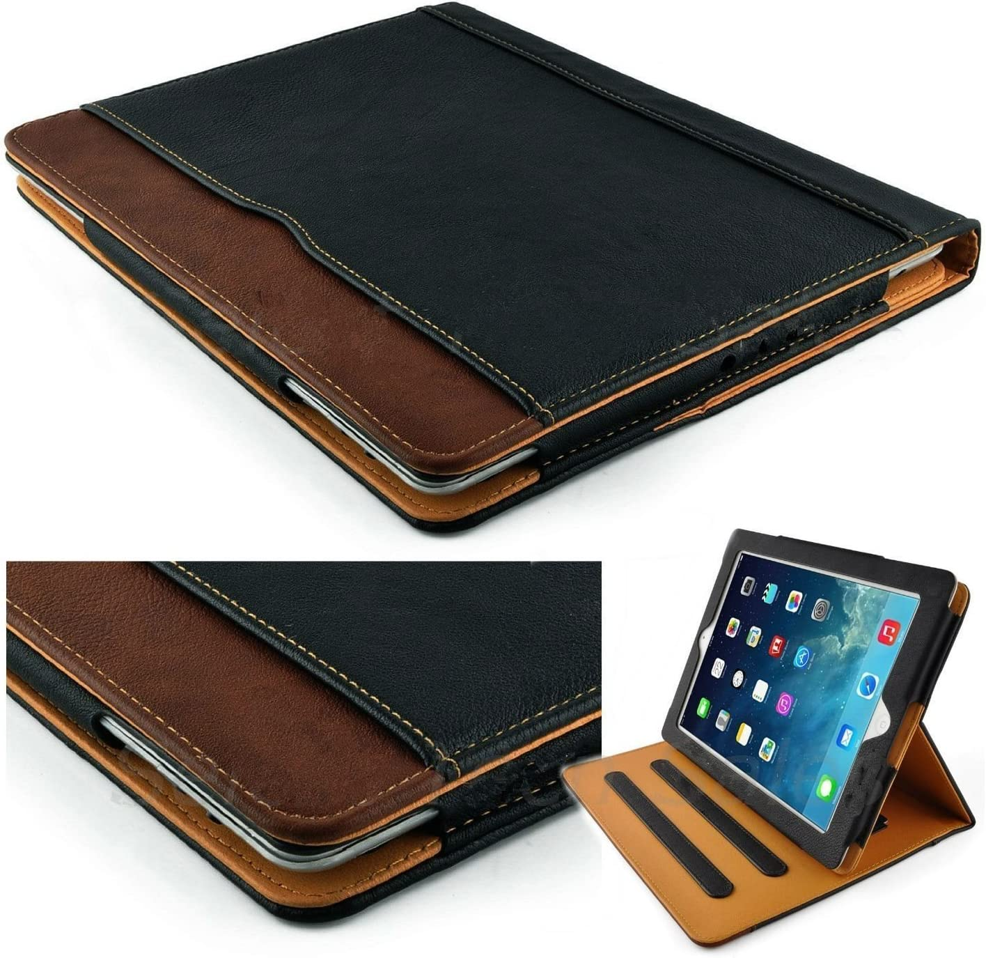 New S-Tech Black and Tan Apple iPad Air 2 Soft Leather Wallet Smart Cover with Sleep / Wake Feature Flip Case