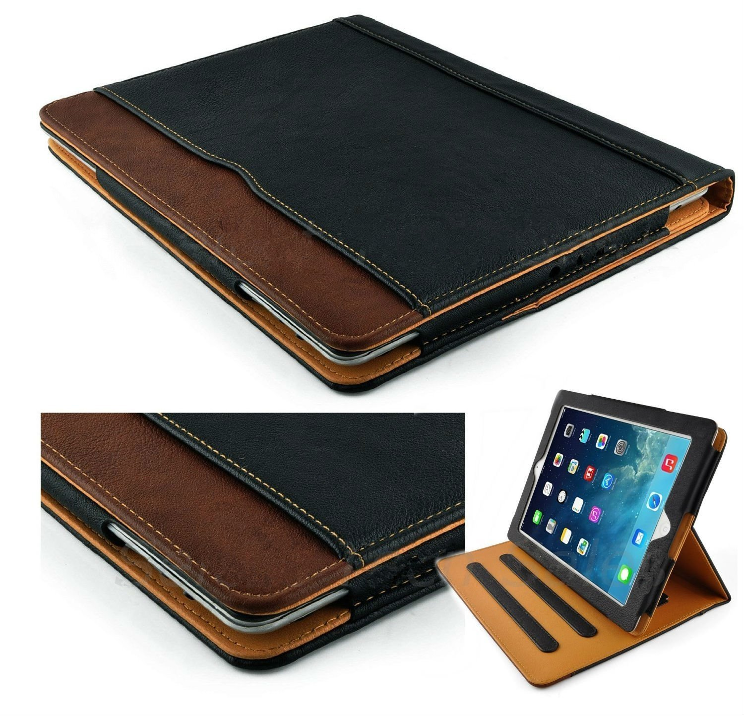 New S-Tech Black and Tan Apple iPad 9.7 5th Generation 2017 / 6th Generation 2018 Model Soft Leather Wallet Smart Cover with Sleep / Wake Feature Flip Case