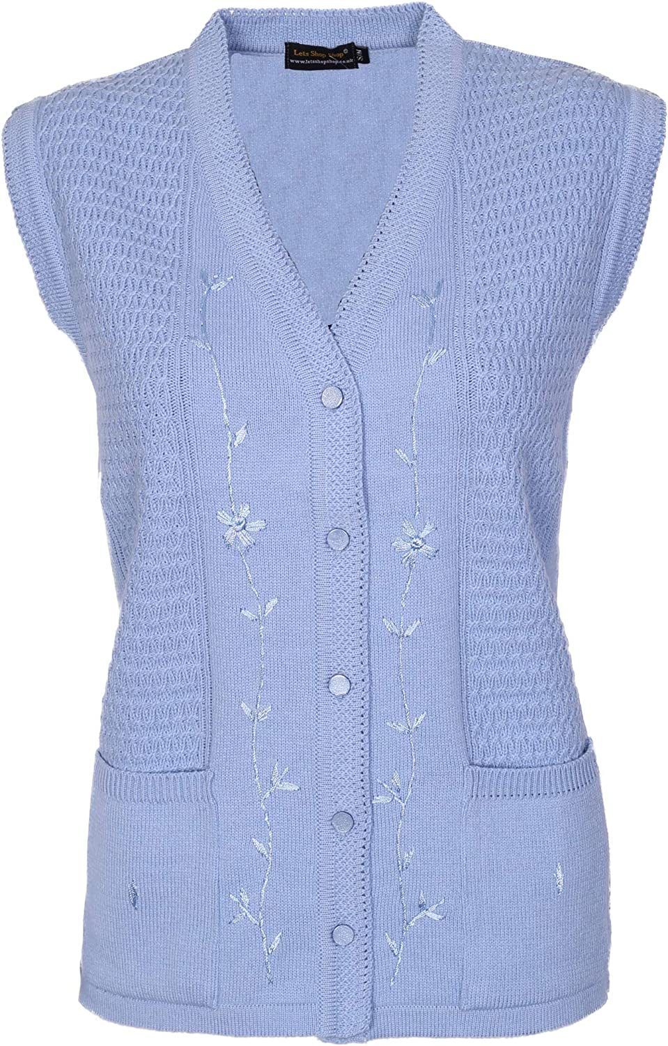 LADIES WOMENS NEW KNITTED EMBROIDERED CARDIGAN JUMPER SIZE 14 16 18 20