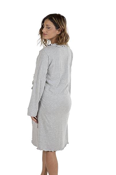 Premamy - Damen Umstands Morgenmantel - Farbe: Grau: Amazon.de: Bekleidung