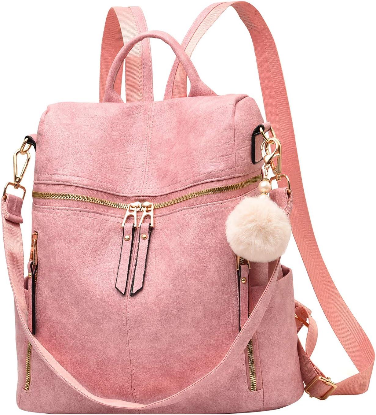 Backpack Purse for Women Multi-pocket Large Capacity Leather Shoulder Bag Lightweight Cute Backpack for Girls,Pink