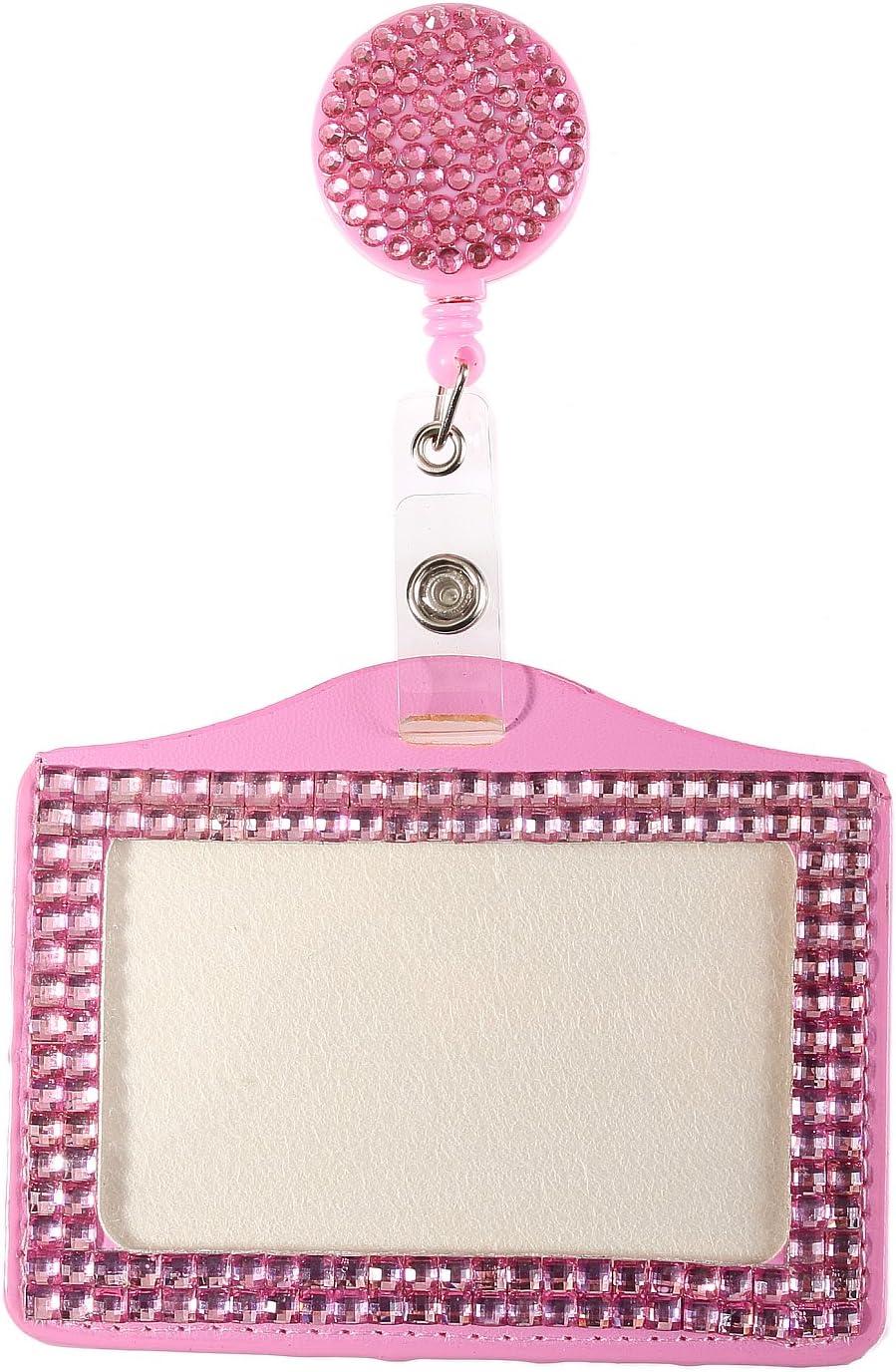 Horizontal Card Holder for Business Id Card Purely Handmade Fashion Baby Pink Bling Crystal Lanyard Cute Rhinestone Badge Reel