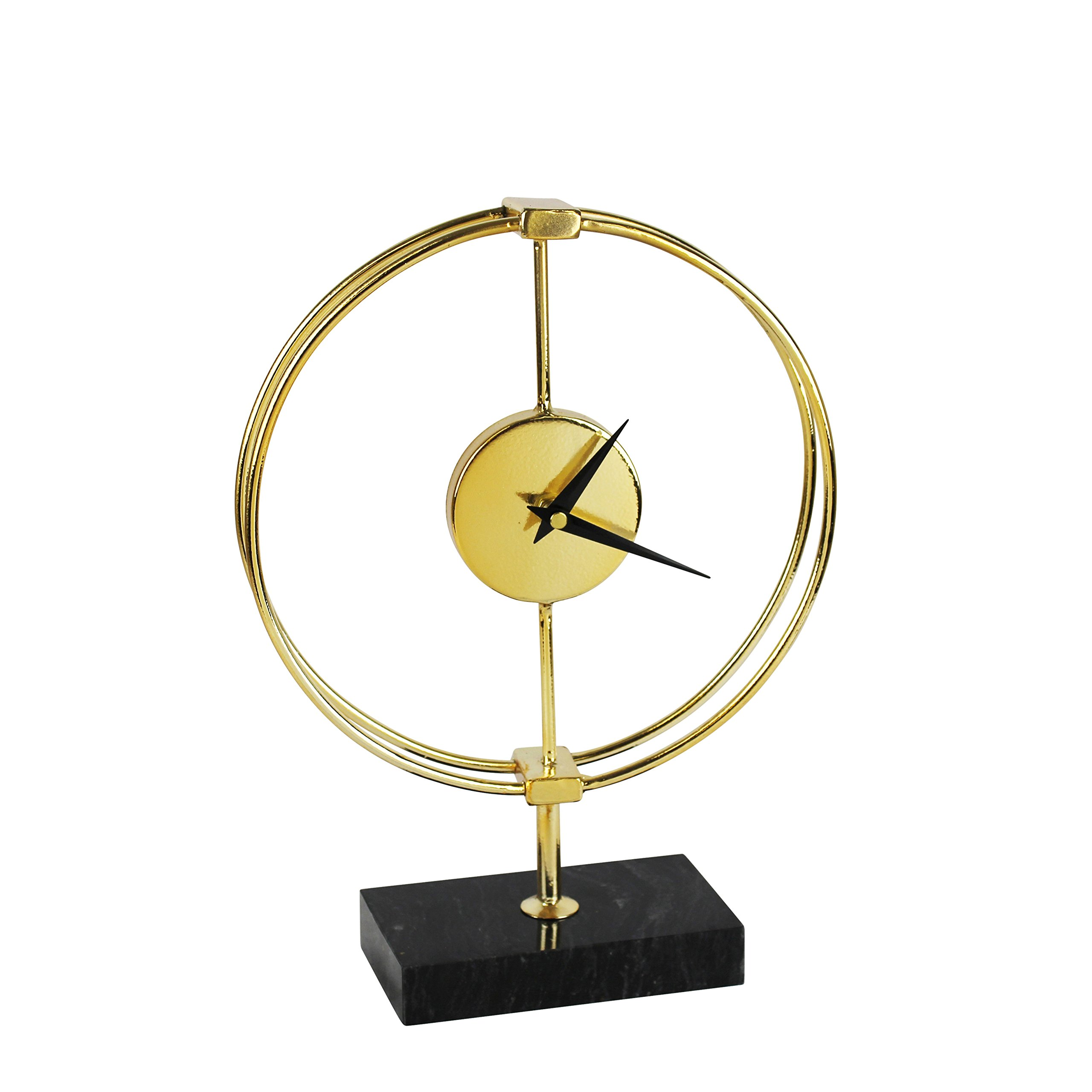 Sagebrook Home 12787 Metal Table Clock on Stand Window Box Acrylic, 9.25 x 3.25 x 13 Inches, Gold/Black