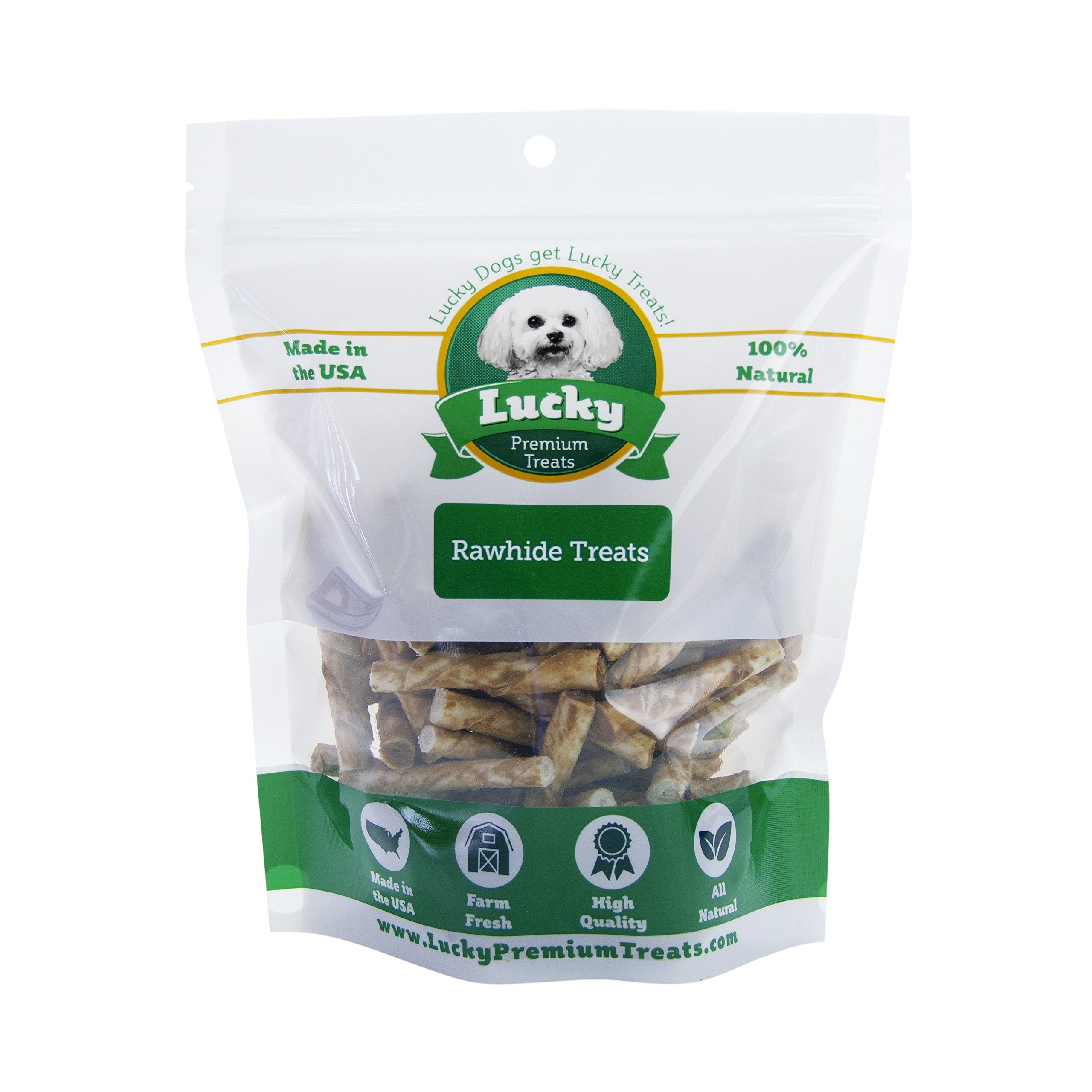 Peanut Butter Flavored Rawhide Dog Treats for Toy Size Dogs Made in the USA Only by Lucky Premium Treats, 435 Chews