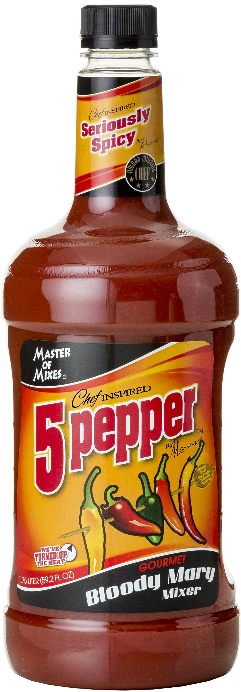 Master of Mixes 5 Pepper Extra Spicy Bloody Mary Drink Mix, Ready To Use, 1.75 Liter Bottle (59.2 Fl Oz), Pack of 3 by Master of Mixes (Image #2)