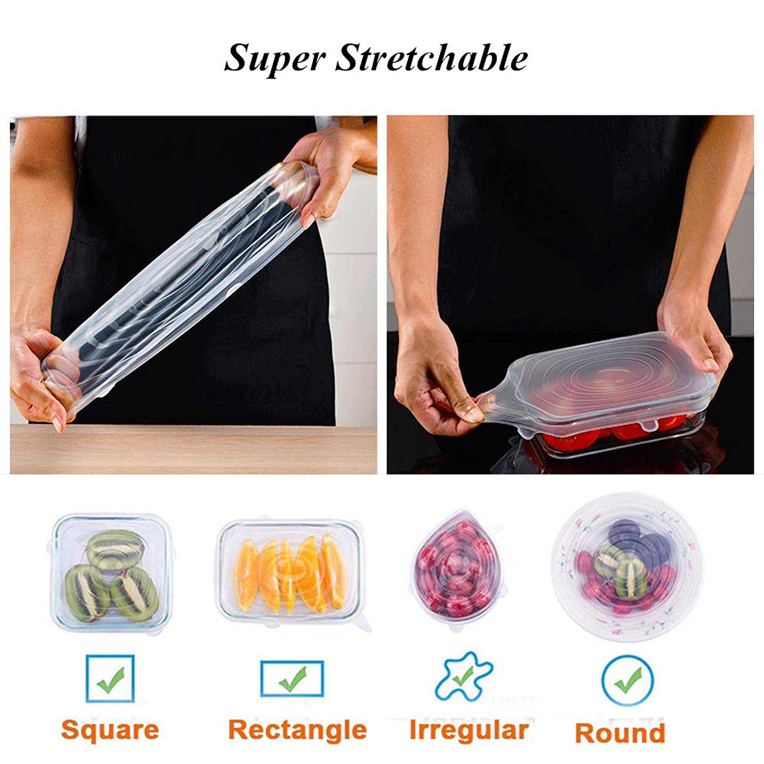 Silicone Stretch Food Covers Lids - Various Sizes Reusable Durable and Expandable Containers Preservative Wrappers for Fruits & Vegetables or Cups, Bowls, Mugs, Dishes and Cans (BLUE+WHITE) by Be-one (Image #5)