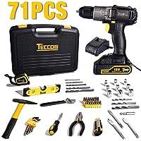 Visseuse Devisseuse sans Fil 18V, TECCPO Mallette a outils 71pcs, Coudeau, Marteau, Noix de Cliquet, 10mm Metal Mandrin, 4A Chargeur Rapide- TDDC01P