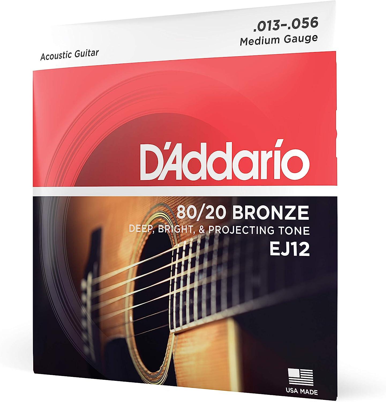 D'Addario EJ12 Juego de cuerdas para guitarra acústica de bronce, 013' - 056'.