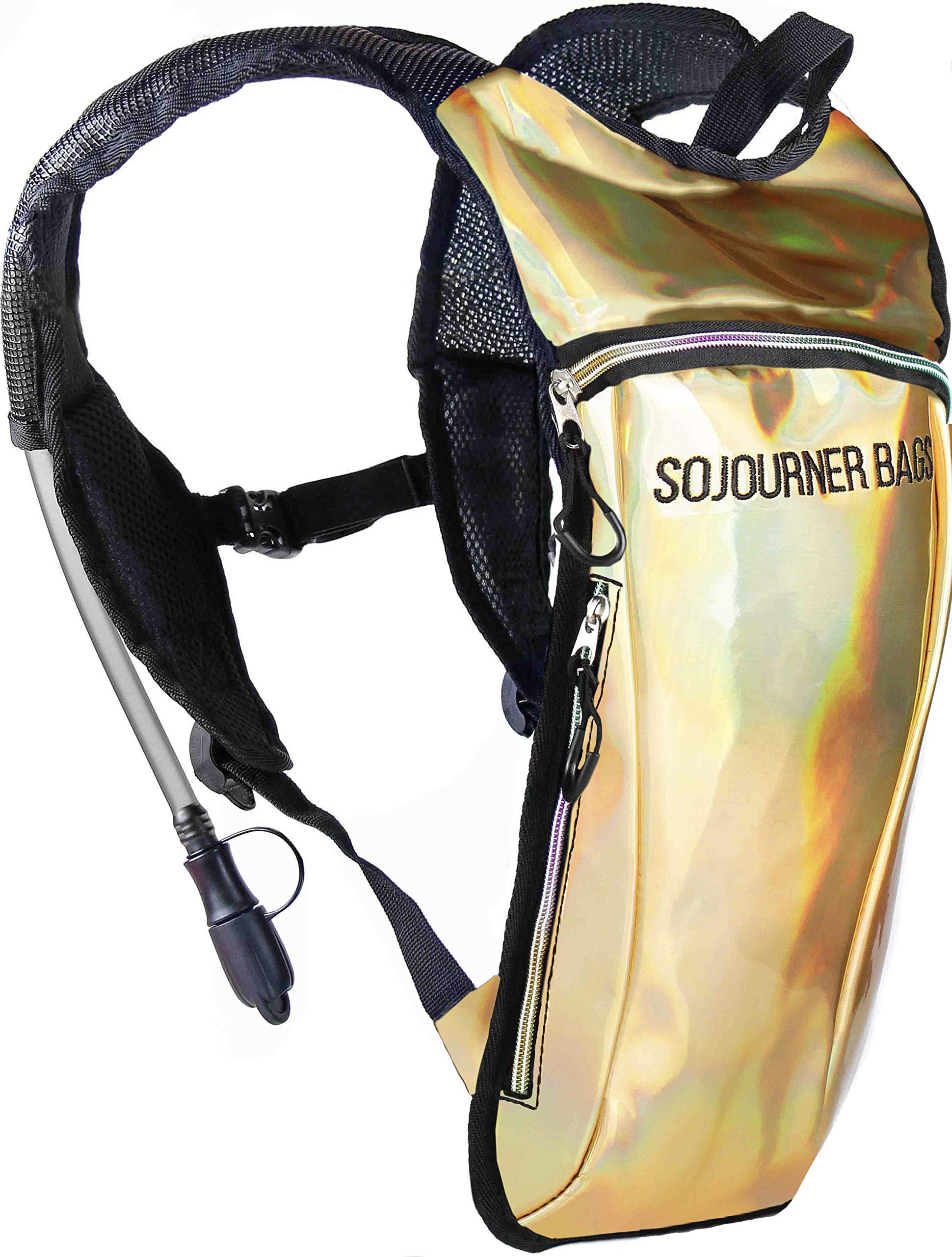 Sojourner Rave Hydration Pack Backpack - 2L Water Bladder Included for Festivals, Raves, Hiking, Biking, Climbing, Running (Holographic Gold)
