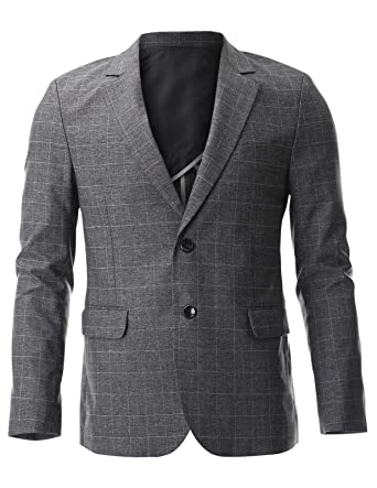 FLATSEVEN Mens Classic Two Button Check Pattern Blazer Jacket At Gorgeous Mens Blazer Pattern