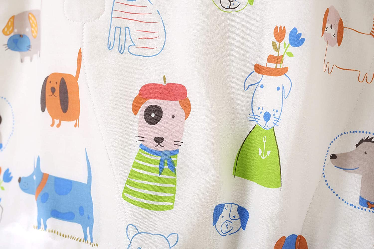 CWG Allergy-Free Soft Daycare Nursery Toddler Crib Blanket 47x47in Omelas Baby Animal Dog Nursery Muslin Organic Cotton Bed Quilt Blanket White and Sage Green Colorful Cartoon Dogs Patterned