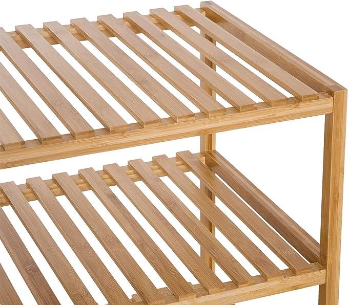 HOMCOM Estantería de Bambú 3 Niveles Estantería Almacenaje para ...