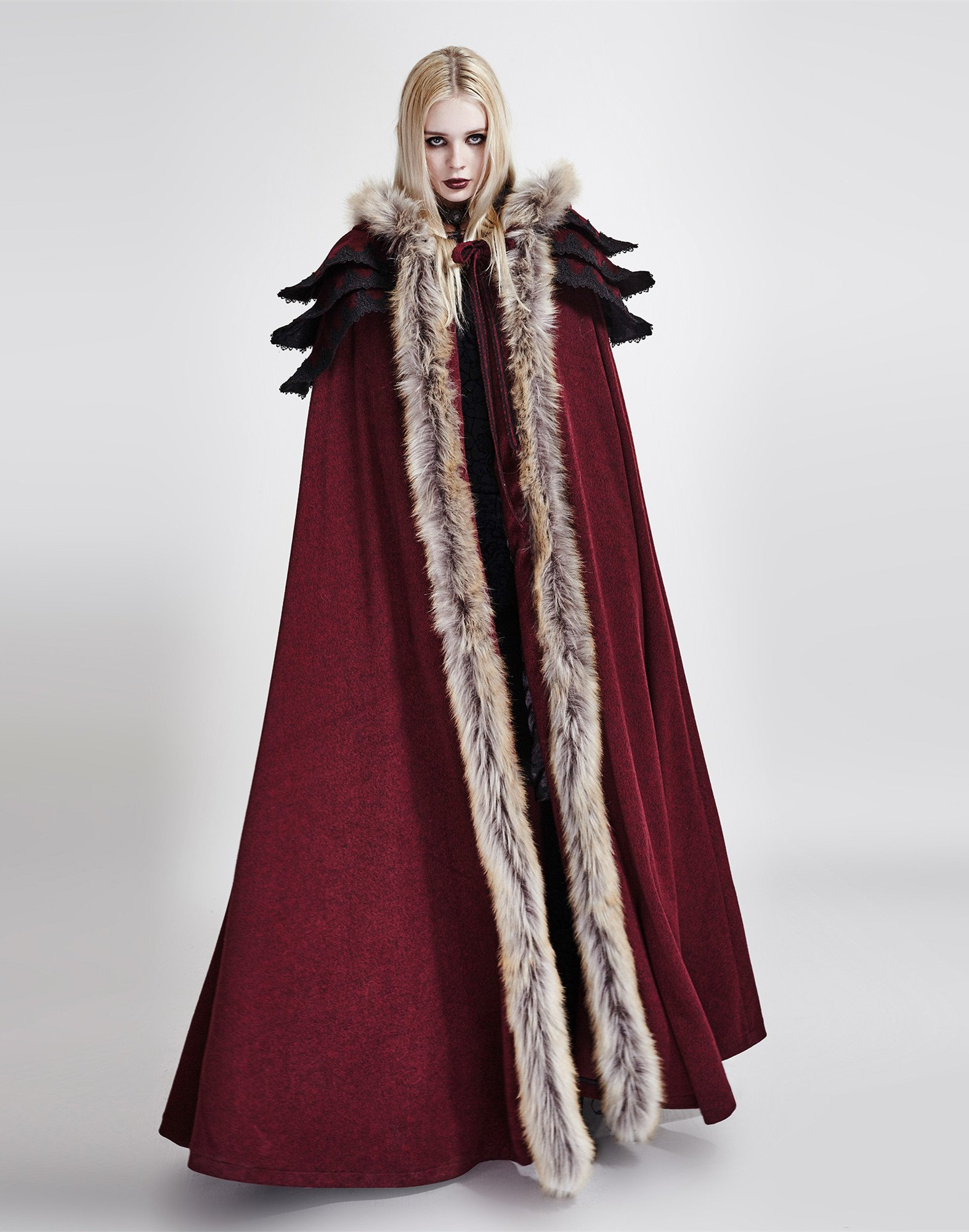 Punk Rave Women's Medieval Fluffy Faux Fur Trimmed Cape Full Length Hooded Cloak Coat(Red) by Punk Rave (Image #4)
