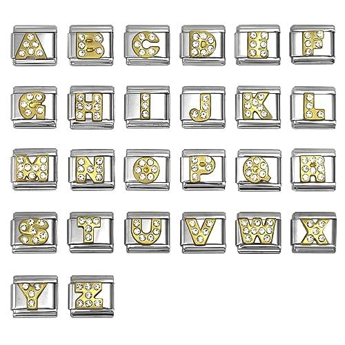 Amazon.com: Rhinestone letra del alfabeto italiano charms 9 ...