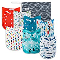 Surfs Up Baby Cloth Pocket Diapers 7 Pack, 7 Bamboo Inserts, 1 Wet Bag by Nora's Nursery